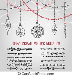 Christmas garland brushes set with balls