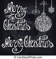 Christmas typography lettering,card elements.Chalkboard -...
