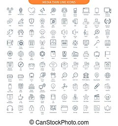 MAI big set - One Hundred Thin Line Icons Set Of Social...
