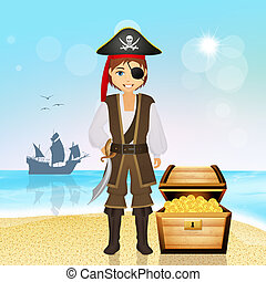 pirate man with treasure on the island