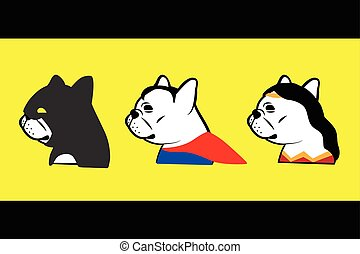 french bulldog hero vector - set of french bulldog superhero...