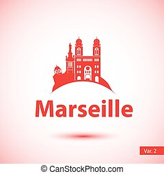 Vector silhouette of the symbol of Marseille, France. -...