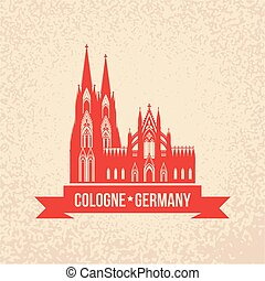 German city Cologne travel symbol. Koln Dom Cathedral,...