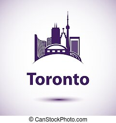 Vector city skyline with landmarks Toronto Ontario Canada....