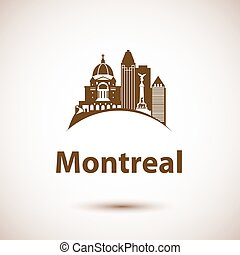 Vector city skyline with landmarks Montreal Quebec Canada.