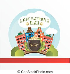 Card for St. Patrick Day. Pot with golden coins standing on the bridge in Dublin. Cartoon funny style.