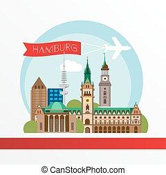 Hamburg detailed silhouette. Trendy vector illustration,