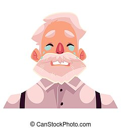 Grey haired old man face, crying facial expression, cartoon...