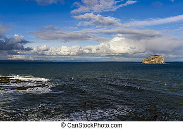 Landscape ovet the sea in North Berwick of Bass rock island...