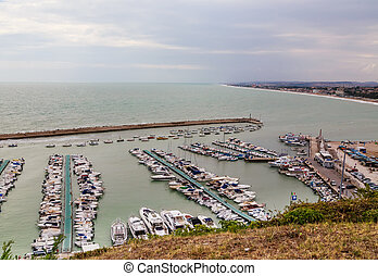 Marina at the harbour front of Numara, Marche, Italy