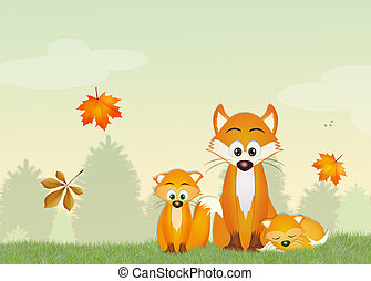 red foxes in the forest - illustration of red foxes in the...