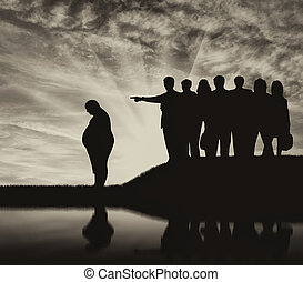 Silhouette thick man and crowd of people point finger - Fat...