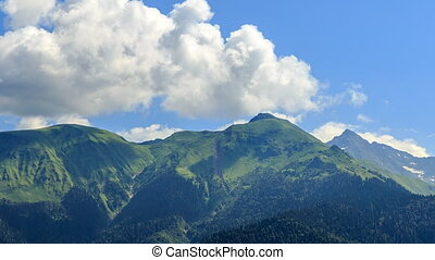 Clouds over the mountains. Panorama. HDR. Time Lapse. Sochi,...
