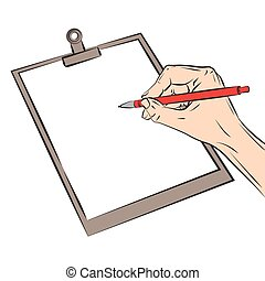 Hand with pen. Vector illustration isolated