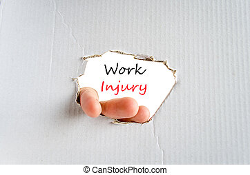 Work injury text concept isolated over white background