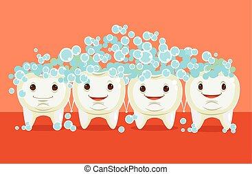Teeth cleaning. Happy teeth character. Vector flat cartoon...
