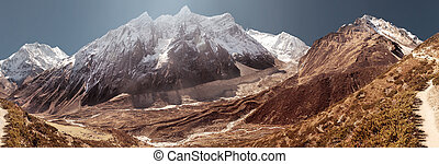 Manaslu mountain covered by snow