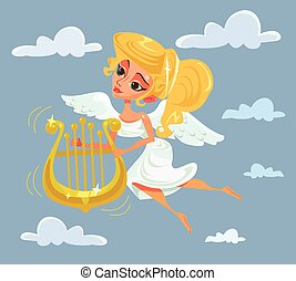 Greek muse character playing harp. Vector flat cartoon...