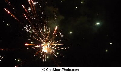 New Year fireworks on night sky
