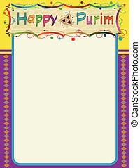 Purim Colorful Note - Happy Purim decorative blank sign....