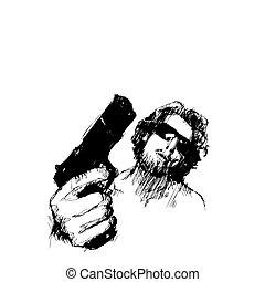 aggressive man - sketching of the aggressive man