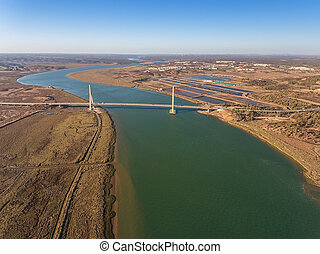 Aerial. Bridge on the border of Spain and Portugal. River -...