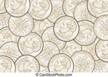 Dime coins background - Heap of ten US cent dime coins. Can...