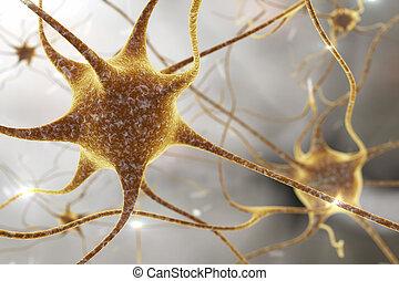 Neuron, brain cell - 3D illustration of a neuron, brain...