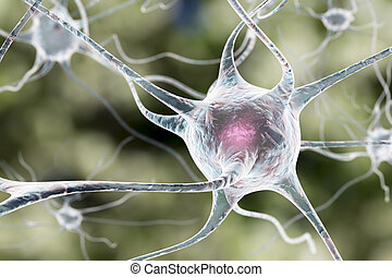 Neuron, brain cell - 3D illustration of a neuron, brain...