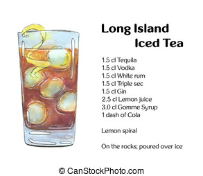 hand drawn watercolor cocktail Long Island Iced Tea on white...