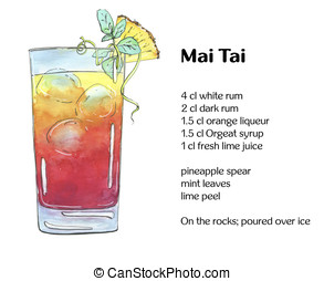 hand drawn watercolor cocktail Mai Tai on white background