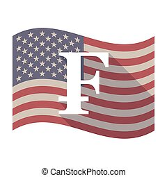 Long shadow USA flag with a swiss franc sign - Illustration...