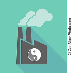 Factory icon with a ying yang - Illustration of a long...