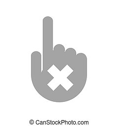 Isolated hand with an x sign
