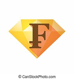 Isolated diamond with a swiss franc sign - Illustration of...
