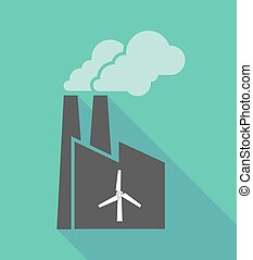 Factory icon with a wind turbine