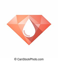 Isolated diamond with a blood drop