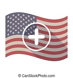 Long shadow USA flag with a sum sign - Illustration of an...