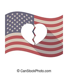 Long shadow USA flag with a broken heart - Illustration of...