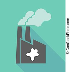 Factory icon with a puzzle piece