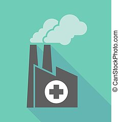 Factory icon with a round pharmacy sign - Illustration of a...