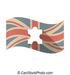 Isolated UK flag with a puzzle piece