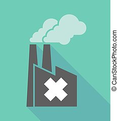 Factory icon with an irritating substance sign -...