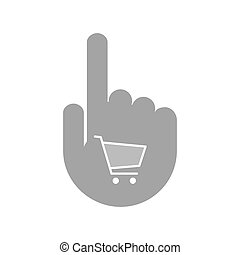 Isolated hand with a shopping cart