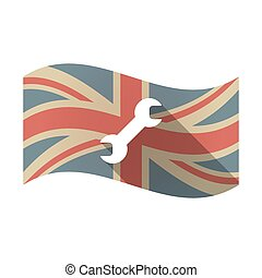 Isolated UK flag with a wrench - Illustration of an isolated...