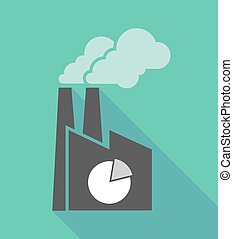 Factory icon with a pie chart