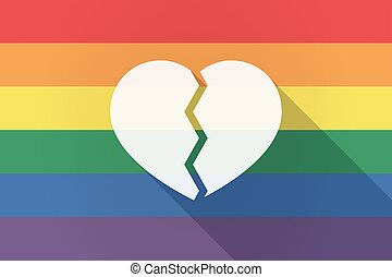 Long shadow lgbt flag with a broken heart - Illustration of...