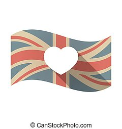 Isolated UK flag with a heart