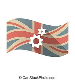 Isolated UK flag with two gears