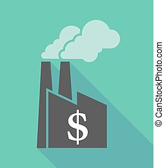 Factory icon with a dollar sign